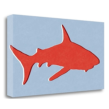 Tangletown Fine Art 'Shark I' Graphic Art Print on Wrapped Canvas; 14'' H x 26'' W