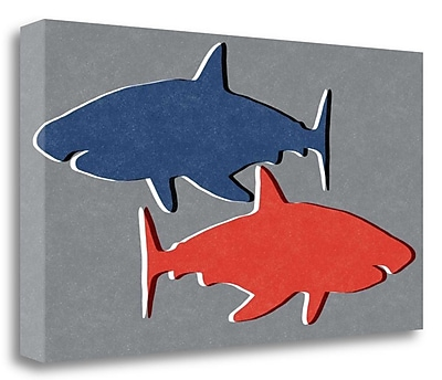 Tangletown Fine Art 'Shark IV' Graphic Art Print on Wrapped Canvas; 20'' H x 36'' W