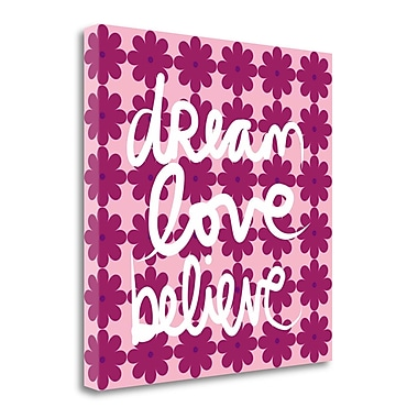 Tangletown Fine Art 'Dream Love Believe in Bold' Textual Art on Wrapped Canvas; 20'' H x 20'' W