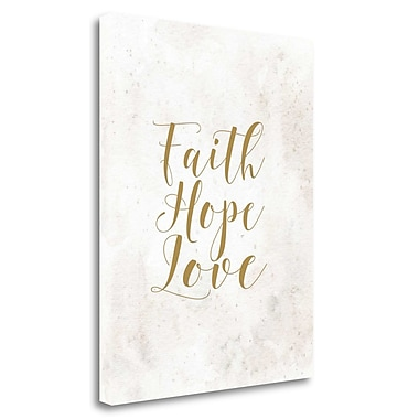 Tangletown Fine Art 'Faith Hope Love Tan' Textual Art on Wrapped Canvas; 37'' H x 29'' W