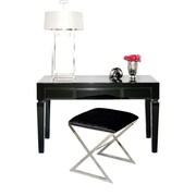 WorldsAway Beveled 3 Drawer Writing Desk; Black Glass