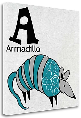 Tangletown Fine Art 'A - Armadillo' Graphic Art Print on Wrapped Canvas; 18'' H x 18'' W