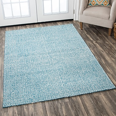 Latitude Run Landgrove Hand-Tufted 100pct Wool Teal Area Rug; 3' x 5'