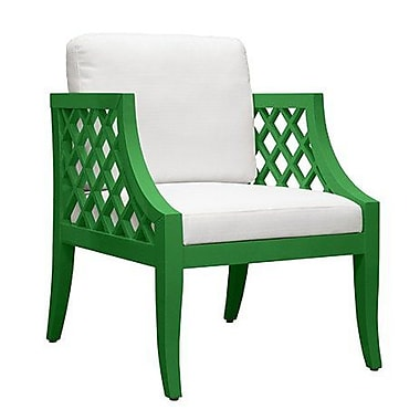 WorldsAway Lattice Side Chair; Green Lacquer