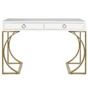 WorldsAway 2 Drawer Writing Desk; White Lacquer/Brass