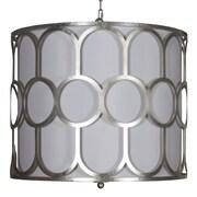 WorldsAway Art Deco Style 3-Light Drum Pendant; Silver