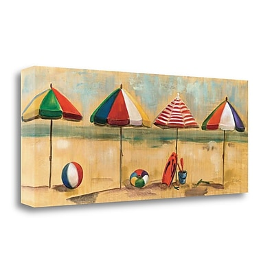 Tangletown Fine Art 'Living is Easy I Umbrellas' Print on Wrapped Canvas; 13'' H x 32'' W