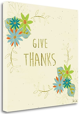 Tangletown Fine Art 'Give Thanks Leaves' Graphic Art Print on Canvas; 25'' H x 25'' W