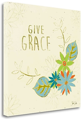 Tangletown Fine Art 'Give Grace Leaves' Graphic Art Print on Canvas; 25'' H x 25'' W