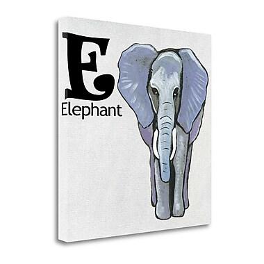 Tangletown Fine Art 'E - Elephant' Graphic Art Print on Wrapped Canvas; 20'' H x 20'' W