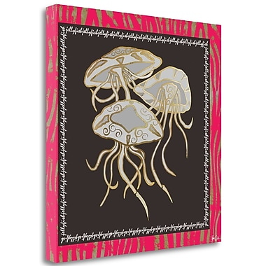 Tangletown Fine Art 'Gold Foil Jellyfish' Graphic Art Print on Wrapped Canvas; 26'' H x 26'' W