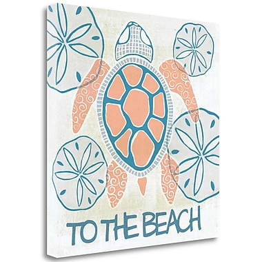 Tangletown Fine Art 'Coral and Navy Sea Turtle II' Graphic Art Print on Wrapped Canvas
