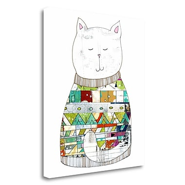 Tangletown Fine Art 'Cat in a Sweater' Graphic Art Print on Wrapped Canvas; 32'' H x 28'' W
