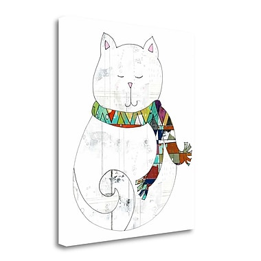 Tangletown Fine Art 'Cat in a Scarf' Graphic Art Print on Wrapped Canvas; 40'' H x 35'' W