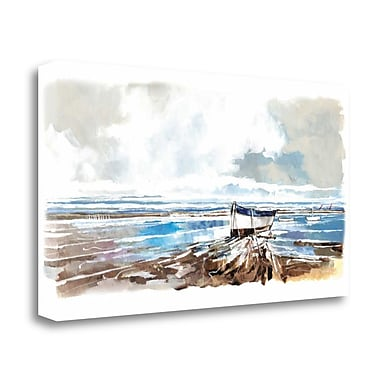 Tangletown Fine Art 'Boat on Shore' Print on Wrapped Canvas; 21'' H x 39'' W