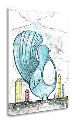 Tangletown Fine Art 'Big Blue Bird' Graphic Art Print on Wrapped Canvas; 31'' H x 25'' W