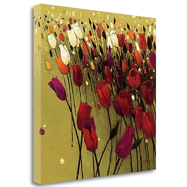 Tangletown Fine Art 'Tulip Drift Green' Print on Wrapped Canvas; 20'' H x 20'' W
