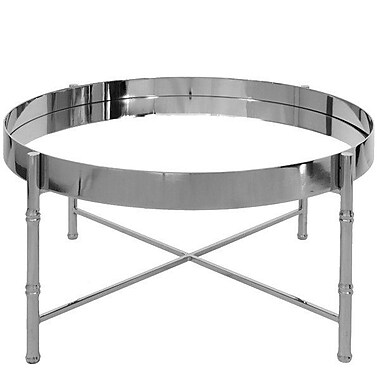 WorldsAway Round Coffee Table w/ Tray Top; Nickel