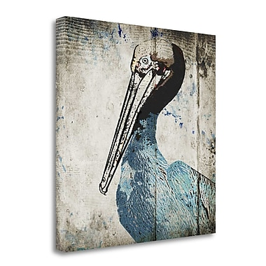 Tangletown Fine Art 'Rustic Blue Pelican' Graphic Art Print Print on Canvas; 30'' H x 30'' W
