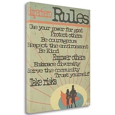 Tangletown Fine Art 'Superhero Rules' Textual Art on Wrapped Canvas; 42'' H x 35'' W