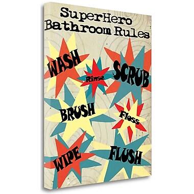 Tangletown Fine Art 'Superhero Bathroom Rules' Textual Art on Wrapped Canvas; 30'' H x 25'' W