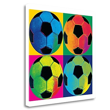 Tangletown Fine Art 'Ball Four Soccer' Graphic Art Print on Wrapped Canvas; 18'' H x 18'' W