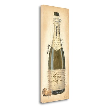 Tangletown Fine Art 'Bubbly Champagne Bottle' Print on Wrapped Canvas; 32'' H x 13'' W