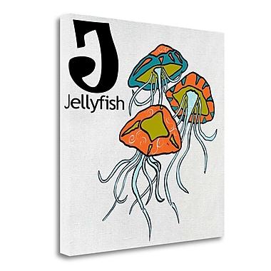 Tangletown Fine Art 'J - Jellyfish' Graphic Art Print on Wrapped Canvas; 20'' H x 20'' W