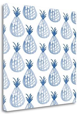 Tangletown Fine Art 'Indigo Pineapples' Graphic Art Print on Wrapped Canvas; 24'' H x 24'' W