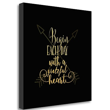 Tangletown Fine Art 'Begin Each Day' Textual Art on Wrapped Canvas; 29'' H x 29'' W