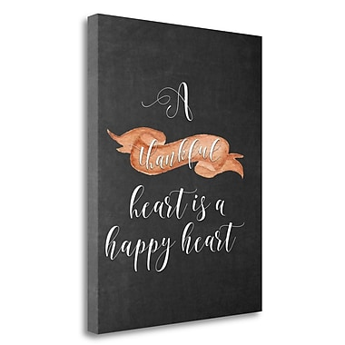 Tangletown Fine Art 'A Thankful Heart' Textual Art on Wrapped Canvas; 30'' H x 24'' W