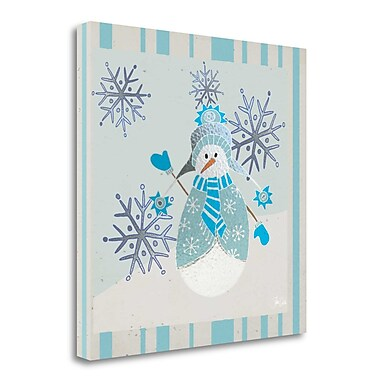 Tangletown Fine Art 'Blue and Silver Snowman I' Graphic Art Print on Wrapped Canvas; 35'' H x 35'' W