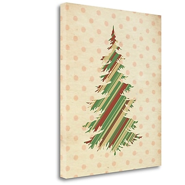 Tangletown Fine Art 'Striped Christmas Tree' Graphic Art Print on Wrapped Canvas; 24'' H x 20'' W