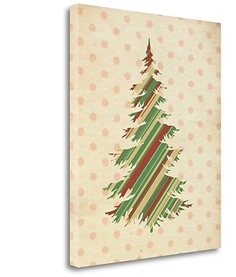 Tangletown Fine Art 'Striped Christmas Tree' Graphic Art Print on Wrapped Canvas; 20'' H x 16'' W