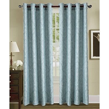 Charlton Home Sande Jacquard in Solid Grommet Single Curtain Panel; Blue