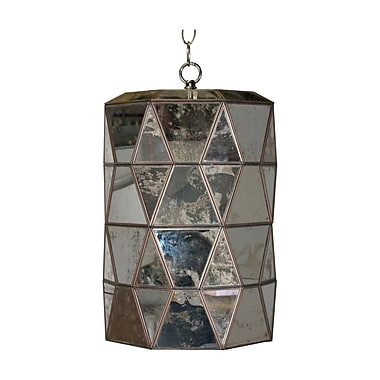 WorldsAway Faceted 1-Light Mini Pendant; Antique Mirror