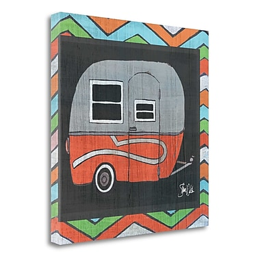 Tangletown Fine Art 'Red Camper at the Lake' Graphic Art Print on Wrapped Canvas; 25'' H x 25'' W