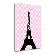 Tangletown Fine Art 'Eiffel Tower Polka Dots' Graphic Art Print on Wrapped Canvas; 23'' H x 18'' W