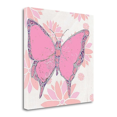 Tangletown Fine Art 'Butterfly and Blooms II' Graphic Art Print on Wrapped Canvas; 25'' H x 25'' W