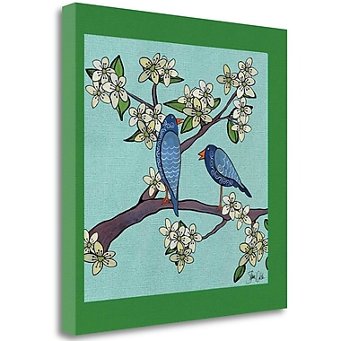 Tangletown Fine Art 'Bluebirds and Cherry Blossoms' Print on Wrapped Canvas; 20'' H x 20'' W