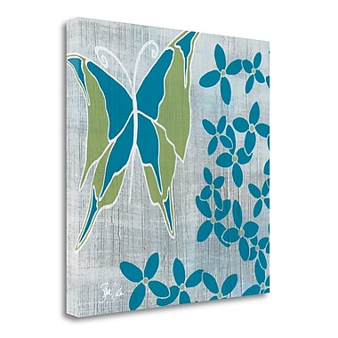 Tangletown Fine Art 'Butterfly and Flowers 2' Graphic Art Print on Wrapped Canvas; 30'' H x 30'' W