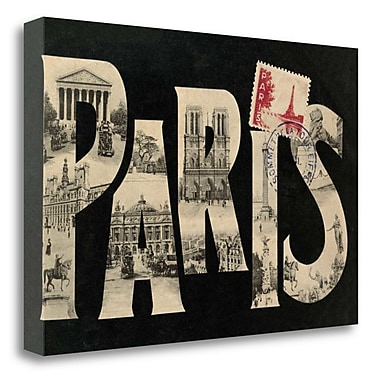 Tangletown Fine Art 'Postcard from Paris' Textual Art on Wrapped Canvas; 26'' H x 39'' W
