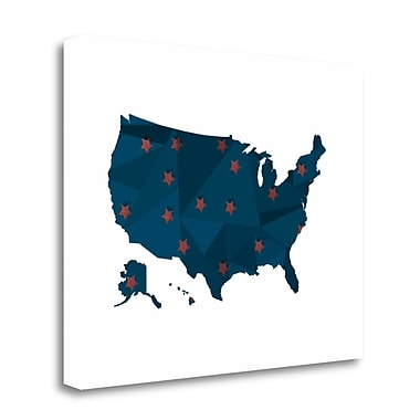 Tangletown Fine Art 'America Blue Red Stars' Graphic Art Print on Wrapped Canvas; 16'' H x 20'' W