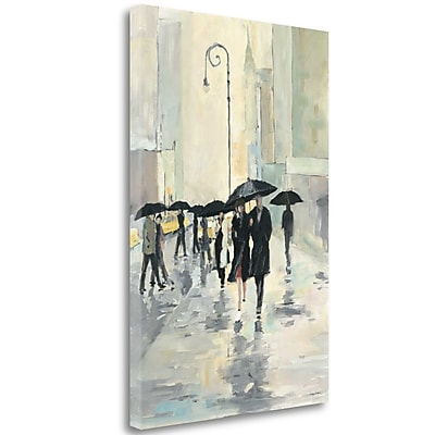 Tangletown Fine Art 'City in the Rain' Print on Wrapped Canvas; 48'' H x 32'' W