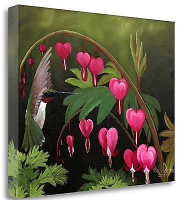 Tangletown Fine Art 'Hummer and Bleeding Hearts' Print on Canvas; 21'' H x 27'' W