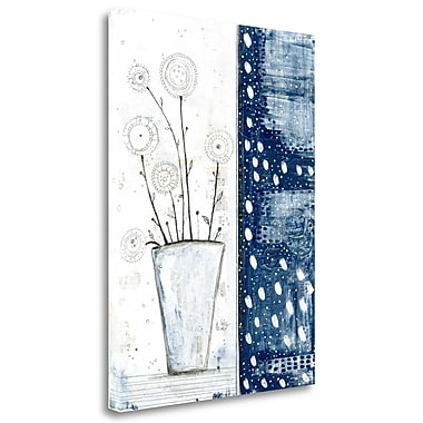 Tangletown Fine Art 'White and Navy Floral' Graphic Art Print on Wrapped Canvas; 39'' H x 28'' W