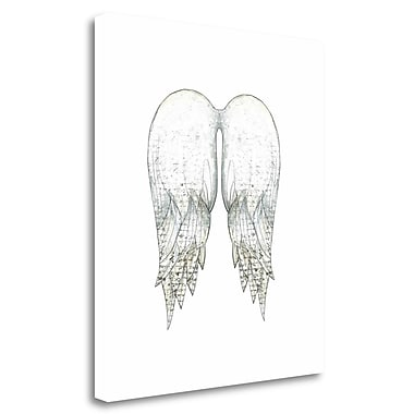 Tangletown Fine Art 'Angel Wings in White' Graphic Art Print on Wrapped Canvas; 32'' H x 28'' W
