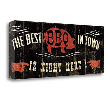 Tangletown Fine Art 'The Best BBQ in Town' Vintage Advertisement on Wrapped Canvas; 12'' H x 28'' W