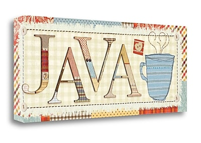 Tangletown Fine Art 'Patchwork Cafe II' Textual Art on Wrapped Canvas; 13'' H x 32'' W