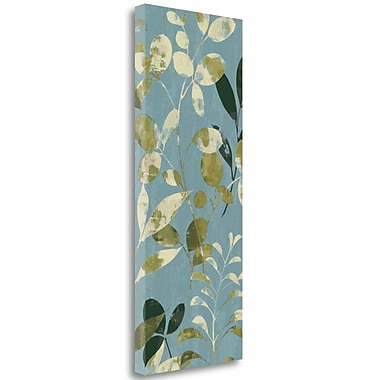 Tangletown Fine Art 'Leaves on Blue II' Graphic Art Print on Wrapped Canvas; 32'' H x 13'' W
